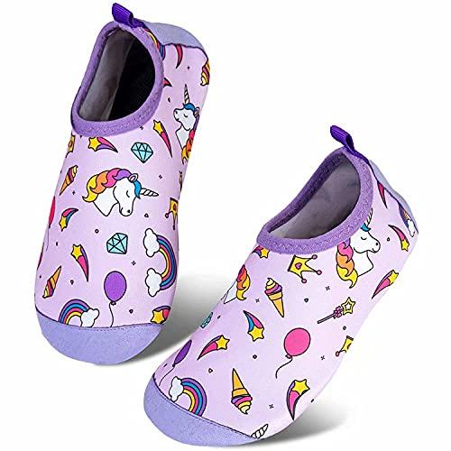 Somic Zapatos de Agua Niños Barefoot Calcetines de Natación Niñas Zapatos De NatacióN para NiñOs Antideslizante Secado RáPido Descalzo Aqua Calcetines Unisex-Niños Morado EU 18/19