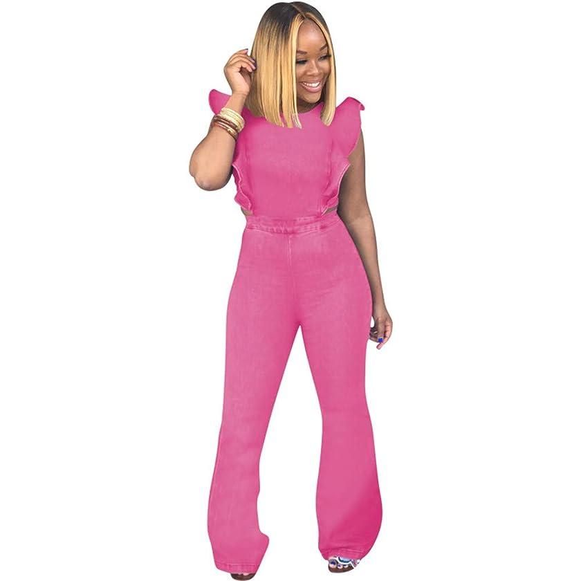 ECHOINE Women's Sexy Ruffled Denim Jumpsuits Solid Wide Leg Long Romper Pants Clubwear
