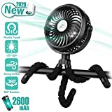 Winique Stroller Fan,2600mAh Battery Powered Car Seats Clip-on Fan Ultra Quiet 3 Speed 360° Rotatable Personal USB Desk Fan with LED Lights for Car/Stroller/Bike/Camping/BBQ/Gym