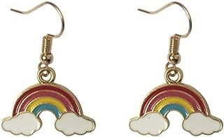 Women Girls Sweety Rainbow Clouds Charm Earrings 18K Gold Plated Tassel Dangle Earring