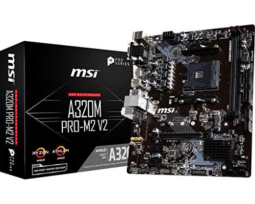 MSI A320M Pro-M2 V2 - Placa Base (Chipset AMD A320, DDR4 Boost, Realtek LAN, Audio Boost, HDMI, X-Boost, soporta AMD pocesadores) color negro