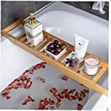 Odoukey Bañera Bañera de Madera de bambú Rack Plataforma de baño Organizador...