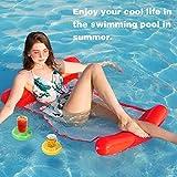 hamaca flotante para piscina, flotador de malla tumbona inflable del agua hinchable colchón, colchoneta piscina, colchoneta piscina tumbona flotante, & 2 x inflable pool float drink cup holder (red)