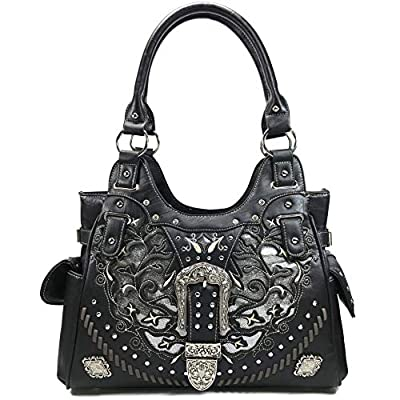 Zelris Women Tote Handbag Western Gleaming Buckle Floral Cowgirl Concealed Carry Purse (Black)