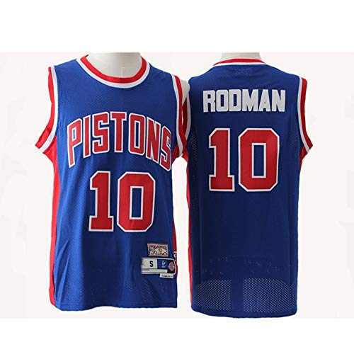 YSA Maglia da Uomo NBA Pistons # 10 Rodman Blu/Bianco Retro all-Star Jersey, Tessuto Traspirante Fresco, Maglia da Basket Sportiva Senza Maniche Unisex Top, Blu, S: 170 cm / 50~65 kg