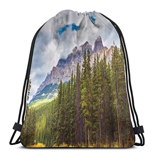Nisdsgd Drawstring Shoulder Backpack Travel Daypack Gym Bag Sport Yoga, Rocky Mountains Majestic Look Canada Evergreen Aspen Trees Autumn Nature Outdoor,5 Liter Capacity,Adjustable.