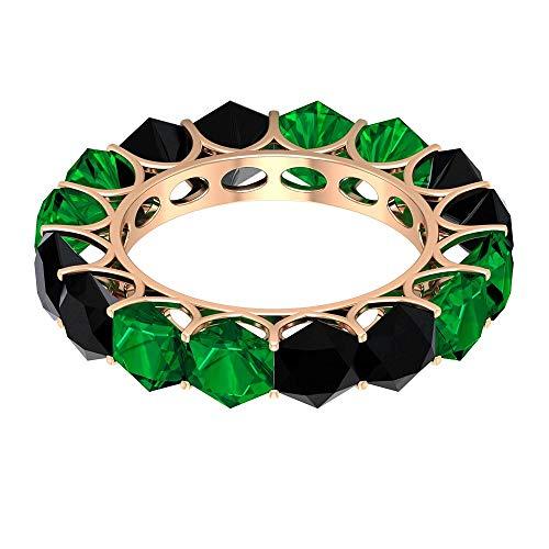 Anillo de esmeralda creado en laboratorio de 3,8 ct 5 mm, delicado anillo de eternidad completa, anillo de espinela negro hexagonal de 4,8 quilates, anillo de boda alterna, 14K Oro rosa, Size:EU 51