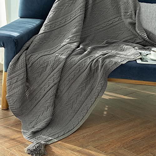 Sylanfia gestrickte Decke mit Fransen Quasten Einfarbig Cosy Twist Knit Decke 130x156cm für Sofadecke Lazy Decken Office Schal Decke Home Dekorative Decke