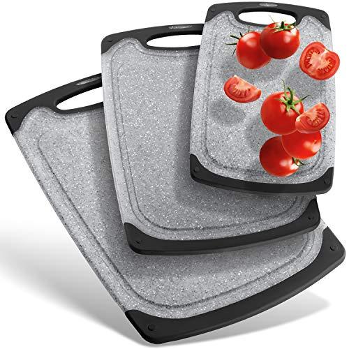 IP-HOME Premium Schneidebretter-Set (3-teiliges Set)   Spülmaschinenfest   rutschfest mit Saftrille und Griff zum aufhängen   BPA frei   grau anthrazit schwarz aus PP-Kunststoff   antibakteriell