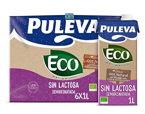 Puleva Eco Leche sin Lactosa Semidesnatada, 6 x 1L