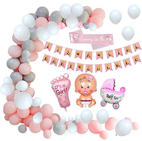 Layal Design Juego de decoración para fiestas de bebé, con diseño de texto 'Its a Girl', globos y banda para fotos