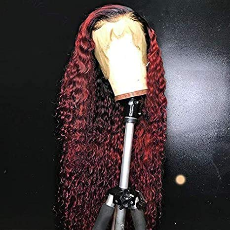 """13x6x1 Lace Front Human Hair Wigs Pre Plucked Ombre 1B/99j Color Brazilian Remy Hair Baby Hair (16"""")"""