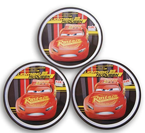 Zak Cars Lightning McQueen Melamine Plate Set - 3 Count - 8'' Diameter