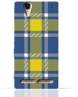 Sony Xperia T2 Ultra TPU Silicone Case with Blue and Yellow Plaid Fabric Design