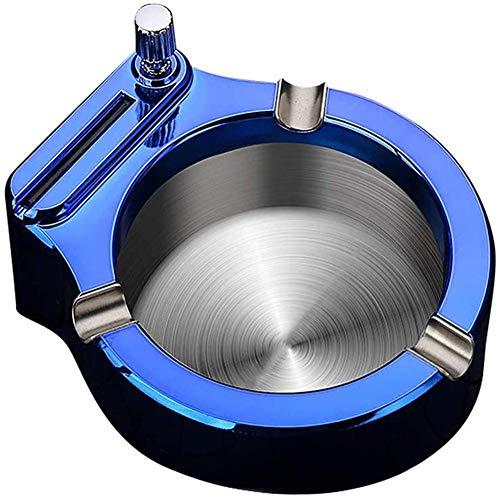 Cenicero de Metal Retro, Cenicero con Encendedor, Cenicero Multifuncional de Acero Inoxidable con Diez Mil Cerillas Se Puede Reutilizar Novio o Padre (Blue)