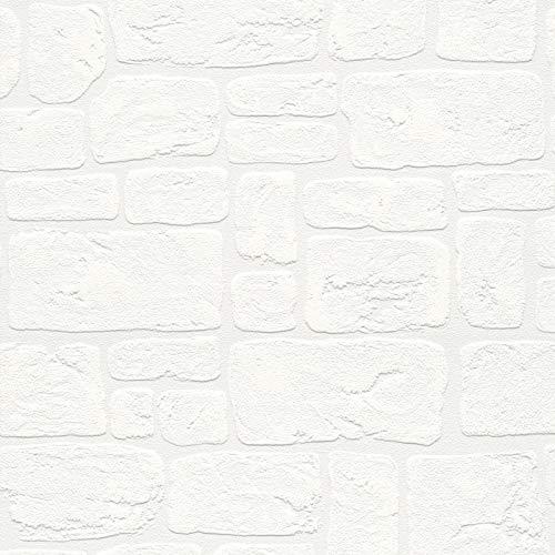 Papiertapete Steintapete Tapete Steinoptik Naturstein-Tapete 204042 20404-2 A.S. Création Dekora Natur 6 | Weiß | Rolle (10,05 x 0,53 m) = 5,33 m²