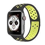 VIKATech Compatible Cinturino per Apple Watch Cinturino 44mm 42mm, Due Colori Morbido Silicone Traspirante Cinturini Sportiva di Ricambio per iWatch Series 5/4/3/2/1, M/L, Nero/Volt