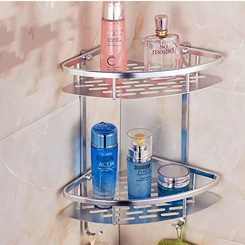 Soporte de esquina de baño multifuncional - Espacio de perforación libre Estante de baño de aluminio de doble capa Luz Trípode cepillado Soporte de esquina de baño