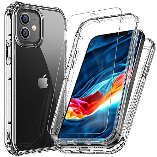 Floveme - Custodia per iPhone 12, 2 in 1, ibrida, antiurto, con pellicola proteggi schermo integrata, per Apple iPhone 12 2020, 5,5', colore: Trasparente