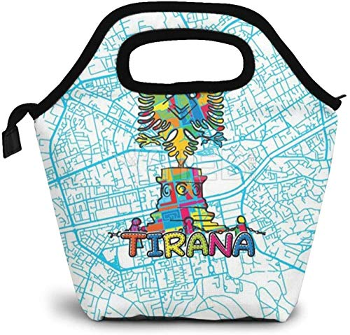 Tirana Travel Art Map Insulated Lunch Bag Custom Bento Box Picnic Cooler Portable Handbag Lunch Tote Bag for Women Girl Men Boy