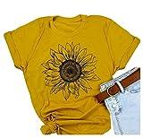 Women Short Sleeve Sunflower T-Shirt Cute Funny Graphic Tee Teen Girls Casual Shirt Tops (L, Yellow)