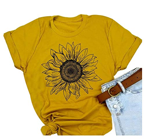 Sunflower Shirts for Women Cute Graphic Tee Shirts Letter Print Funny Tee Shirts Top (M, Yellow)