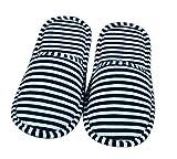 iTemer 1 par Creativo casa Plegable Zapatillas de Viaje a Rayas de algodón Zapatillas de Viaje de Negocios Azul Tamaño 39-44