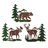 Collections Etc Northwoods Woodland Animals and Mountains Metal Wall Art Trio - Set of 3, Includes Bear, Moose, and Deer