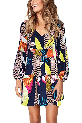 Womens Plus Size Dress Long Sleeve V Neck Leaf Printed Tunic Dress Navy XXL