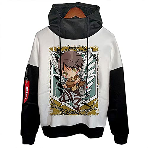 LXLX Sudadera con capucha Attack on Titan con capucha, diseño de anime de Japón, para adolescentes, unisex, moda, ocio, todo partido, S