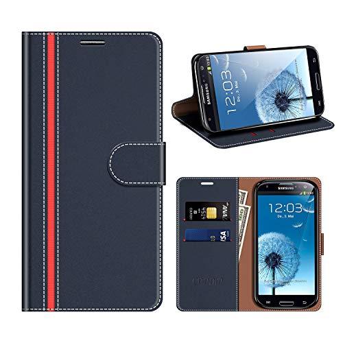 COODIO Samsung Galaxy S3 Hülle Leder, Galaxy S3 Neo Kapphülle Tasche Leder Flip Cover Schutzhülle Rugged für Samsung Galaxy S3 / S3 Neo Handyhülle, Dunkel Blau/Rot