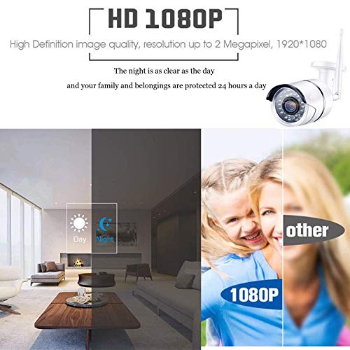 1080P 8 Channel Security Camera System, 8CH Wireless Cameras System with Night Vision, Motion Detection, Built in Microphone, IP66 Weatherproof Surveillance Cameras with 3TB Hard Drive