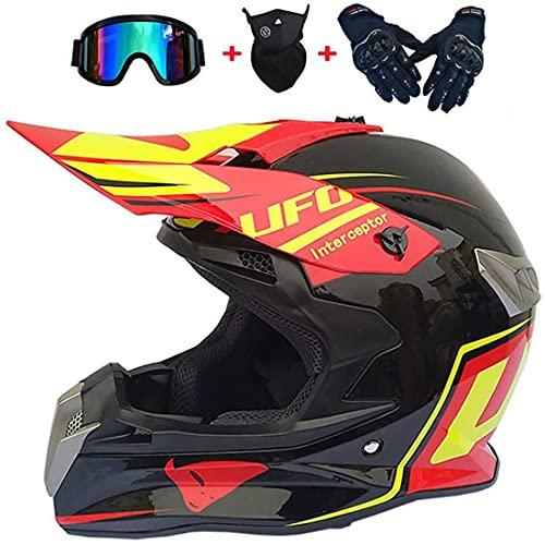 Set di caschi da cross per motocross con occhiali Guanti da maschera, Casco da moto da fuoristrada DH Enduro Racing, Casco da motociclista integrale per quad per uomo Donna, stile UFO