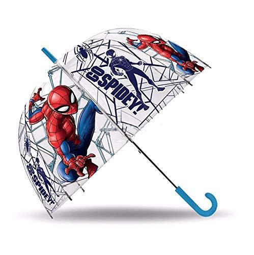 Hogar y Mas Paraguas Largo Cupular de Spiderman, Multicolor. Paraguas Original y Juvenil 45/8-ø69 cm.