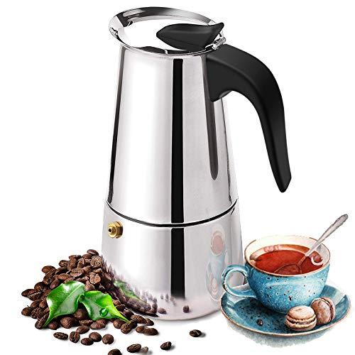 Espressokocher aus Edelstahl, Espressokanne, Mokkakanne, Espresso Maker für 4 Tassen(200ml), Camping Kaffeekocher