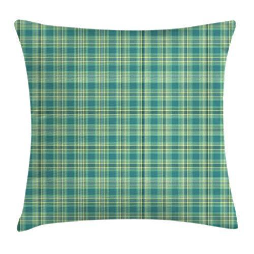 ABAKUHAUS Schotse ruit Sierkussensloop, Classic Pattern, Decoratieve Vierkante Hoes voor Accent Kussen, 45 cm x 45 cm, Petrol Blue Pale Green