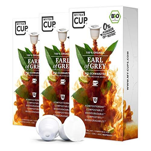 My Tea Cup - TEEKAPSELN EARL OF GREY 3 x 10 KAPSELN I BIO-SCHWARZTEE I 30 Kapseln für Nespresso®³-Kapselmaschinen I 100% industriell kompostierbare & nachhaltige Teekapseln – 0% Aluminium