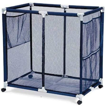 Essentially Yours Pool Floats, Balls, Toys and Equipment Rolling Mesh Organizer Storage Bin, Extra-Large, 34'x 24'x 38', Blue Mesh/White PVC