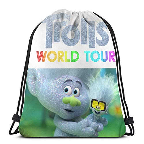 Dockedry Trolls World Tour Made of High Density Polyester Fine Bead Polyester Cloth Drawstring Bags Gym Bag 9.45in*3.94in*0.79in