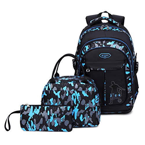 Abshoo Cool Boys School Backpacks For Elementary Backpack Middle School Bookbag (Black Blue Set)