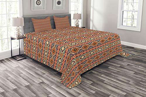 ABAKUHAUS aztekisch Tagesdecke Set, Peru-Volkspastellmotive, Set mit Kissenbezügen Sommerdecke, für Doppelbetten 220 x 220 cm, Mehrfarbig