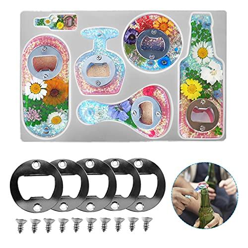 Kit di Apribottiglie fai da te Apri di Bottiglia Stampi in Resina Kit Kit di stampi per apribottiglie in resina epossidica in silicone con vite Accessori per portachiavi Artigianato decorativo
