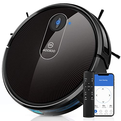 MOOSOO Robot Vacuum, 1800Pa Powerful Suction Robotic Vacuum Cleaner, 120 Min Runtime, Quiet, Super-Thin, Self-Charging, Electric Vacuum Ideal for Pet Hair, Carpets, Hard Floors,MT-720 Dining Features Kitchen Robotic Vacuums