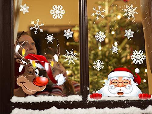 Tuopuda Weihnachten Schneeflocken Fenster Deko Weihnachtsmann Elch Stick 42 Schneeflocken Aufkleber Statisch Fensterbilder