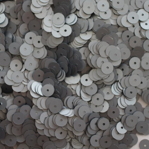 6mm FLAT SEQUINS PAILLETTES ~ HEMATITE GUNMETAL Shiny Gray SILK FROST MATTE ~ Loose paillette sequins for embroidery, applique, arts, crafts, bridal wear and embellishment. Made in USA
