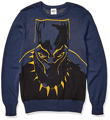 Marvel Men's Ugly Christmas Sweater, Black Panther/Navy, Large