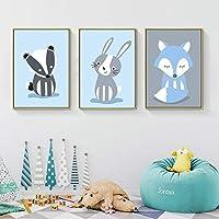 """北欧スタイルの漫画の動物のポスターキツネのウサギのキャンバスの絵画子供の寝室の部屋の装飾の写真3ピース-20x30cm / 7.8""""x11.8""""フレームなし"""