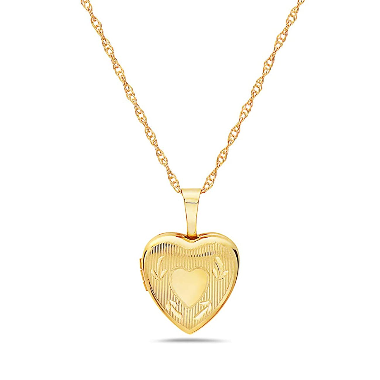 Pori Jewelers 14K Solid Yellow Gold 12mm Heart Locket Pendant Necklace-in 14K Gold Rope Chain Available
