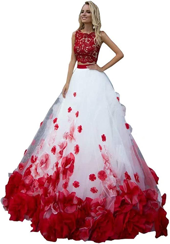 Hand Made Flowers 2 Pieces Quinceanera Dresses Prom Tulle Beaded Prom Sweet 16 Dresses 2021