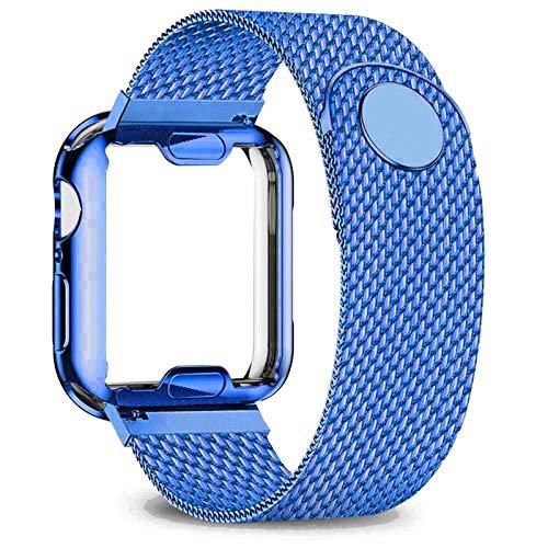 WWXFCA Caso+correa para correa de reloj de 40 mm, 44 mm, 38 mm, 42 mm; correa de metal de acero inoxidable serie 6, 5, 4, 3, 2 se (color de la correa: azul, ancho de la correa: 44 mm, serie 5, 4)